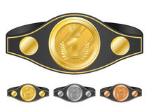 Three champion belts Royalty Free Stock Image