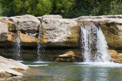 Three channels of water cascading over bedrock Royalty Free Stock Photo