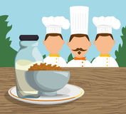 Three character chef breakfast cereal milk landscape Royalty Free Stock Photo
