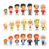 Three Characters Aging Set. Three characters generations at different ages. Man and woman aging set. Baby, child, teenager, young, adult, old.  on white Royalty Free Stock Photography