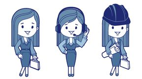 Three characters business women Stock Photos