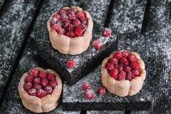 Three charlotte cakes with raspberry Stock Photos