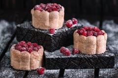 Three charlotte cakes with raspberry Stock Photo