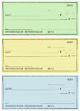 Three Checks With No Name And False Numbers Royalty Free Stock Images