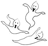 Three cheeky ghosts royalty free illustration