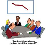 Three Cheer to Turn Business Around. Business cartoon showing people in a meeting and chart showing declining sales.  Manager says, 'Can I get three cheers to Royalty Free Stock Image