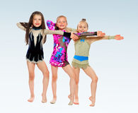 Three cheerful girl gymnasts Stock Image