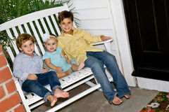 Three Cheerful Kids Having Fun Royalty Free Stock Photos