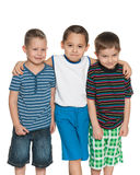 Three cheerful little boys Stock Images