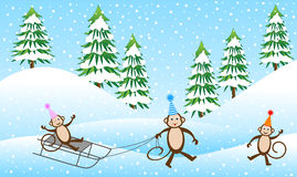 Three cheerful monkey sledding in the winter forest Royalty Free Stock Photography