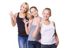 Three cheerful positive girls Royalty Free Stock Photo