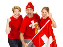 Three cheering Swiss sports fans Royalty Free Stock Photo