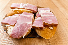 Three cheese sandwich bread bacon Royalty Free Stock Images