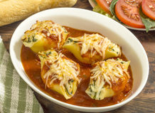 Three cheese stuffed jumbo pasta shells Stock Images