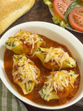 Three cheese stuffed jumbo pasta shells Stock Image