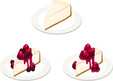 Three Cheesecake Slices with Various Toppings. Three plates with various slices of cheesecake. Classic plain, mixed berry, and strawberry. Isolated vector Royalty Free Stock Image