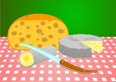 Three cheeses and a knife. Three cheeses and a knife, ready for tasting Royalty Free Stock Photo