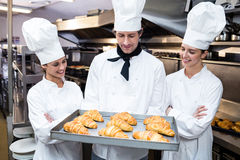 Three chefs holding a tray of baked croissant Stock Image
