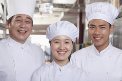Three Chefs in an Industrial Kitchen Stock Photography