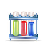 Three chemical substances in glass containers. Isolated Royalty Free Stock Images