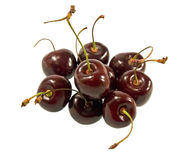 Three cherries. A bunch of cherries isolated on white Stock Images