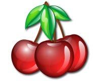 Three Cherries. Red cherries on white background Royalty Free Stock Photo