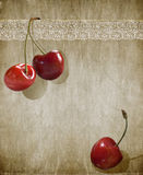 Three cherry and lace Royalty Free Stock Photos