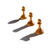 Three chess pawn casting Knight Rook and Bishop shadow royalty free stock images