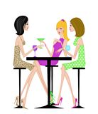 Three Chic Girlfriends Having Drinks Together Stock Photography