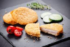 Three Chicken Cordon Bleu Stock Photo