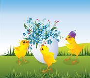 Three chicken and egg Royalty Free Stock Photo