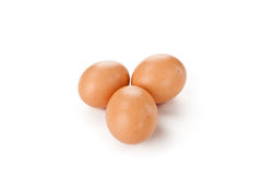 Three chicken eggs. Three chicken eggs  on white background Royalty Free Stock Photos