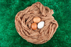 Three chicken eggs in nest made of cloth sack on green background Stock Photos