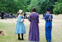 Three child Civil War reenact ors. Royalty Free Stock Images