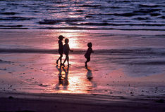 Three Children. Playing on the beach at sunset Royalty Free Stock Photos