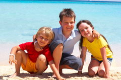 Three Children on Beach Royalty Free Stock Image