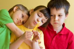 Three Children Blow Bubbles Royalty Free Stock Photography