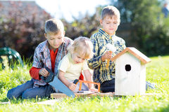 Three children boys - two teenagers and one preschooler making together nesting box sitting on lawn in summerday royalty free stock photo