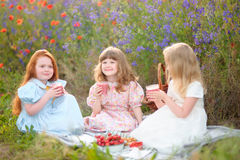 Three children eat vegetarian food at the picnic on summer field Stock Photo