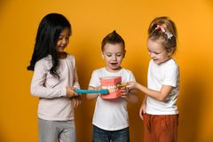 Dental hygiene. happy little cute children with toothbrushes. stock images