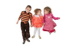 Three children lying top view 2 Royalty Free Stock Photo