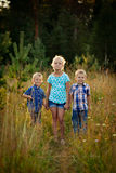 Three children on meadow Stock Images