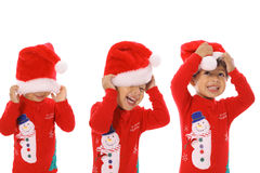 Three children Merry Christmas Stock Photography