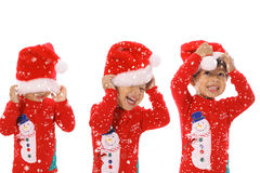 Three children Merry Christmas Stock Images