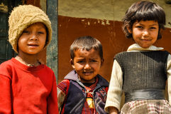 Three children in Nepal Royalty Free Stock Photo