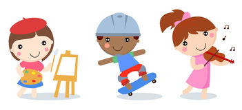 Three children,painting,skateboard boy and girl playing violin Stock Image