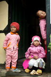 Three children peeping Royalty Free Stock Photo