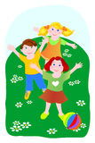 Three children while playing ball. Illustration that represents three children while playing ball in a meadow Royalty Free Stock Photos