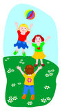 Three children while playing ball. Illustration that represents three children while playing ball in a meadow Royalty Free Stock Images