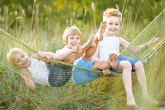Three children playing Royalty Free Stock Images